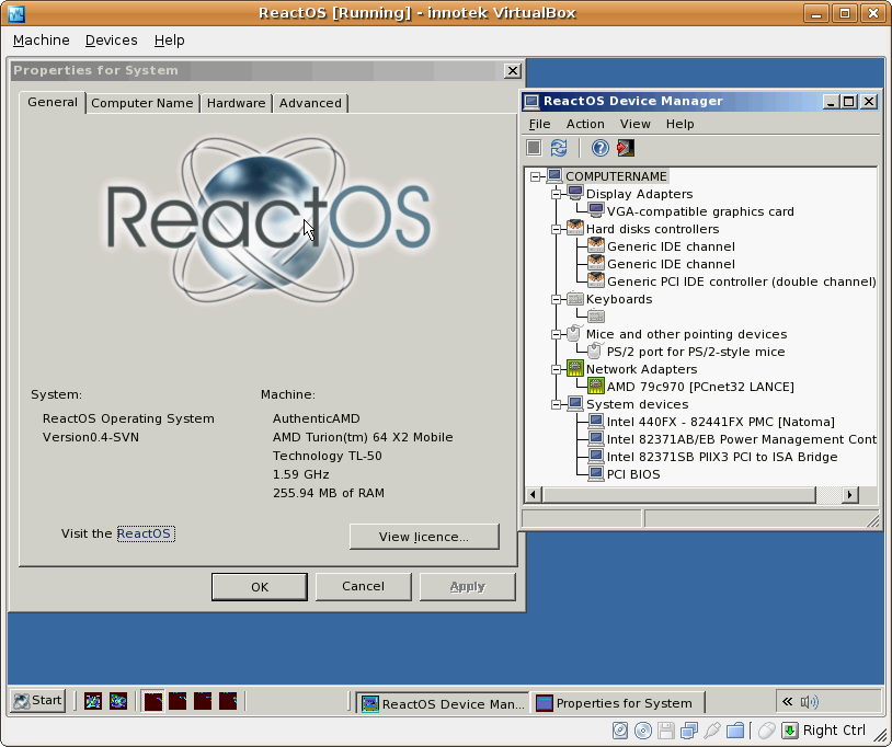 ReactOS [Running] - innotek VirtualBox
